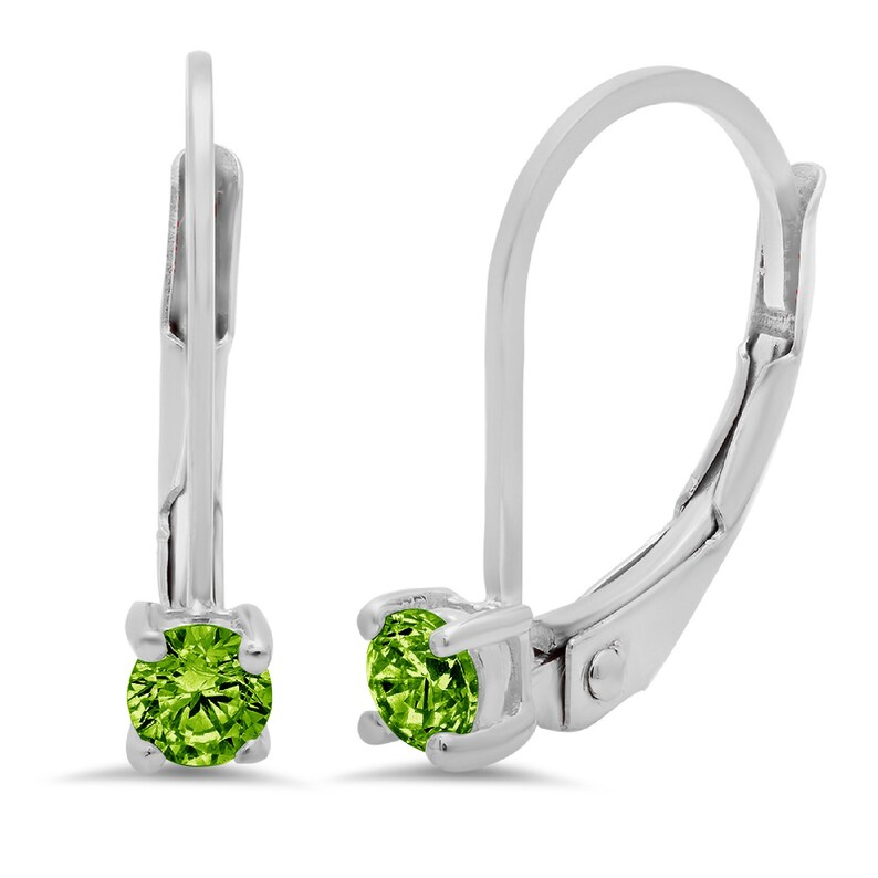 0.20 ct Round Brilliant Cut Green Natural Peridot VVS1 Drop Dangle Earrings Solid 14k White Gold Anniversary Birthday Bridal Gift