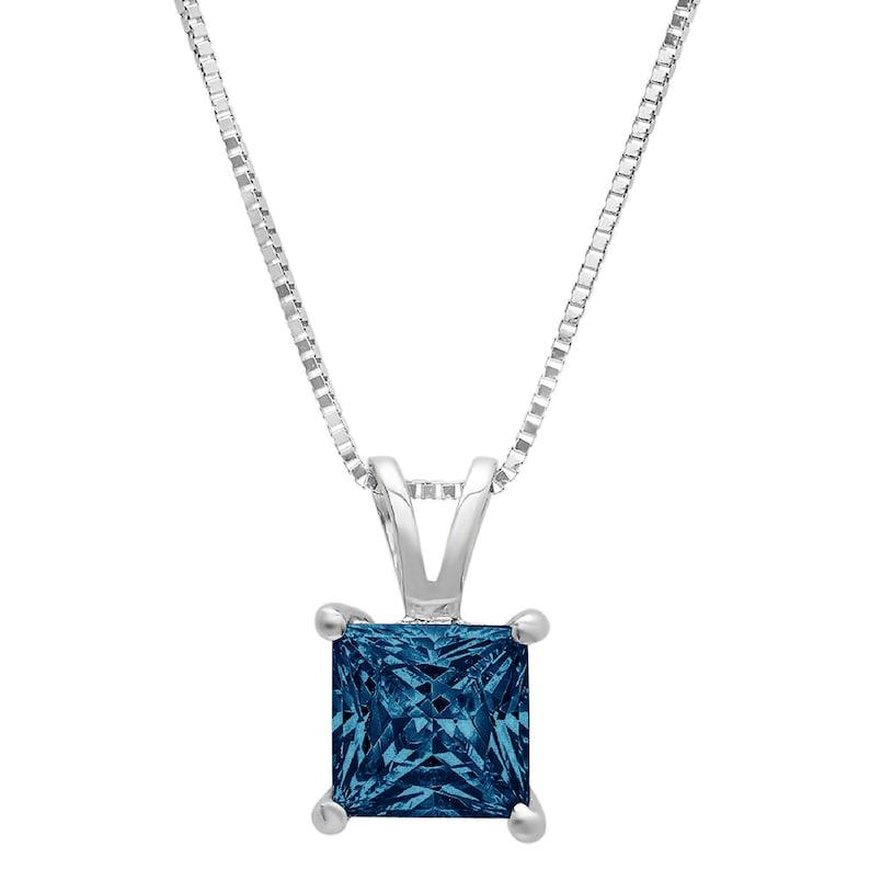 3.0 ct Princess Brilliant Cut Ideal VVS1 Blue Simulated Diamond Pendant Necklace Bridal Anniversary 16 chain 14k Solid White Gold