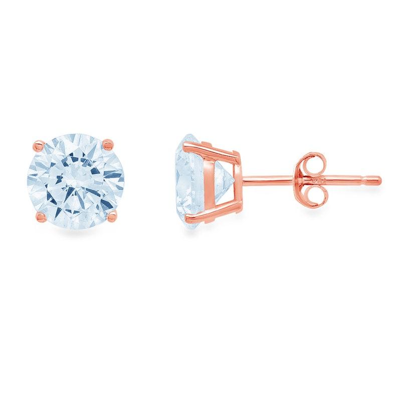 0.5 ct Round Brilliant Cut Ideal VVS1 Natural Sky Blue Topaz Bridal Anniversary Stud Earrings 14k Solid Rose Gold Push Back