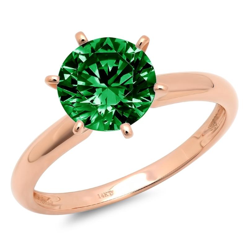 1.50 ct Round Cut Deep Green  Emerald CZ Classic Wedding Engagement Bridal Promise Designer Statement Ring 14k Rose Gold