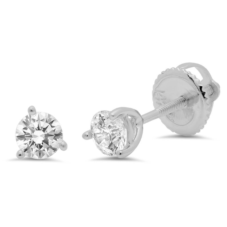 0.50ct Round Brilliant Cut Clear White Sapphire VVS1 Stud Martini Earrings Solid 14k White Gold Anniversary Birthday Bridal Gift