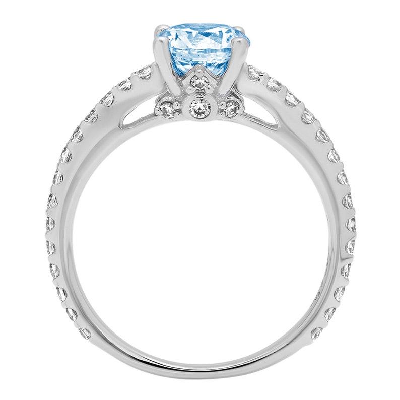 1.54ct Round cathedral Aquamarine Blue Simulated Diamond Promise Bridal Wedding Engagement Classic Designer  Ring Solid 14k White Gold