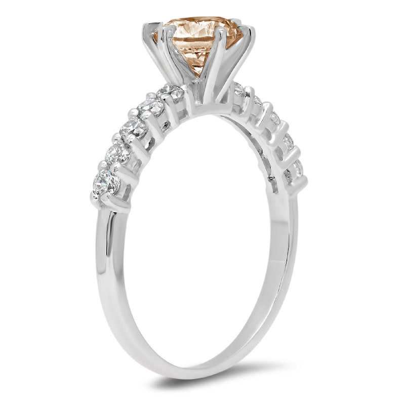 1.20 ct Round Brown Champagne Simulated Diamond Promise Bridal Wedding Engagement Classic Designer  Designer Ring Solid 14k White Gold