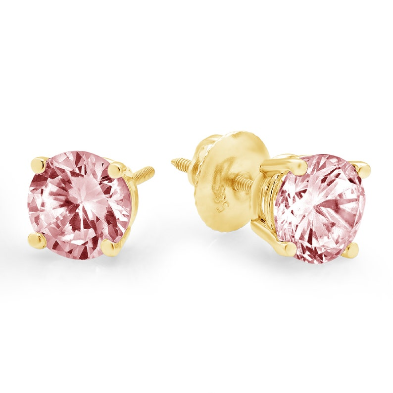 3.0 ct Round Brilliant Cut Solitaire Pink Simulated Diamond Stud Earrings Solid 14k Yellow Gold Anniversary Birthday Bridal Gift