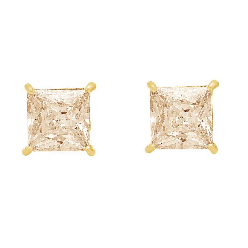 1.5ct Princess Brilliant Cut Ideal VVS1 Natural Morganite Bridal Anniversary Stud Earrings 14k Solid Yellow Gold Screw Back