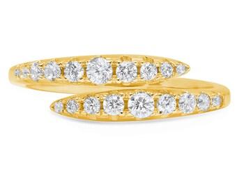 Round Cut Engagement Ring, Round Cut Engagement Band, Round Cut Anniversary Band, 0.7 CT Round Engagement Wedding Ring Band  14K Yellow Gold