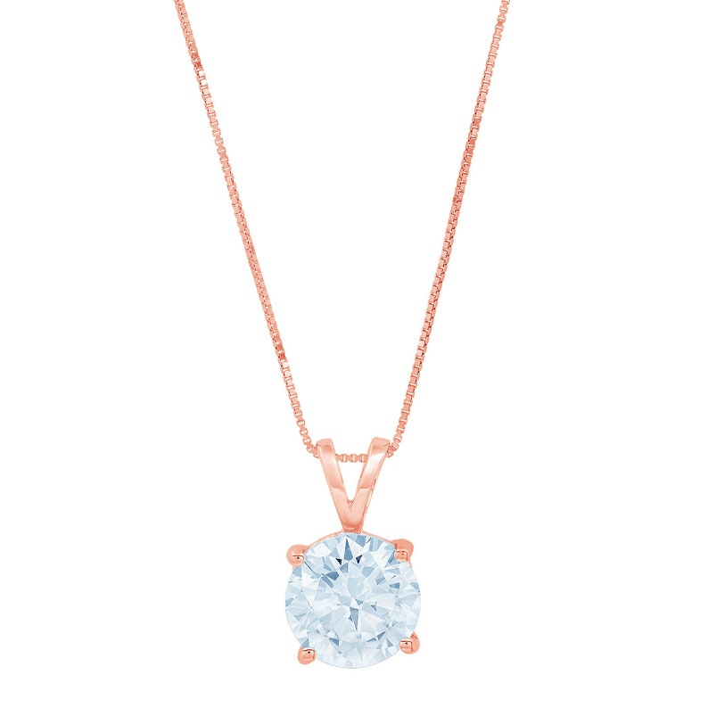 2.0 ct Round Brilliant Cut Ideal VVS1 Blue Simulated Diamond Pendant Necklace Bridal Anniversary 18 chain 14k Pink Solid Rose Gold