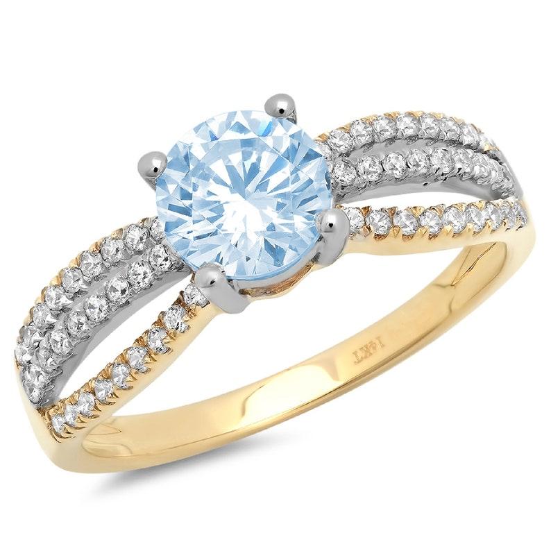 1.25 ct Round Cut Aquamarine Blue Simulated Diamond Classic Promise Bridal Wedding Engagement Classic Designer  Ring Solid 14k 2 tone Gold