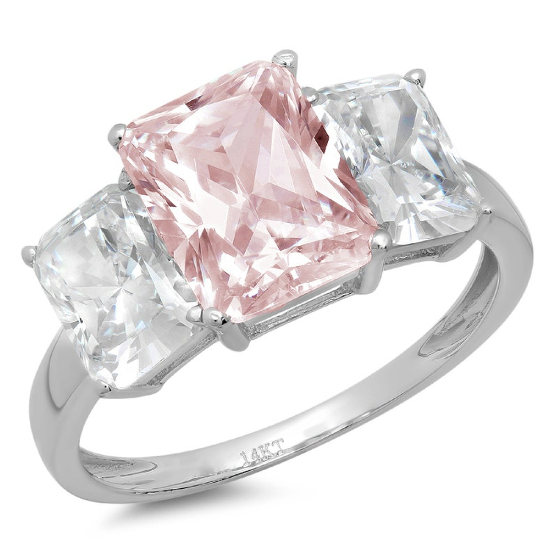 4.0 ct Emerald 3 Stone Pink Simulated Diamond Promise Bridal Wedding Engagement Classic Designer  Ring Solid 14k White Gold