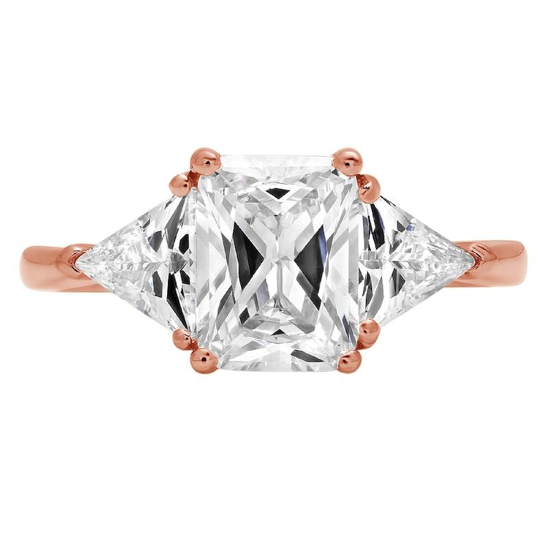 Women Engagement Promise 3 Ct Lab Three Stone Emerald Trillion Cut Wedding Band Ring 14k Rose Gold Women Engagement Women Promise