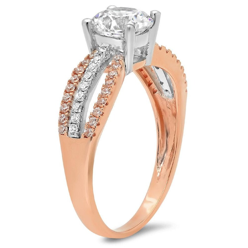 1.25 ct Brilliant Round Cut Designer Genuine Flawless VVS1 White Sapphire 14K 18K WhiteRose Gold Solitaire with Accents Ring