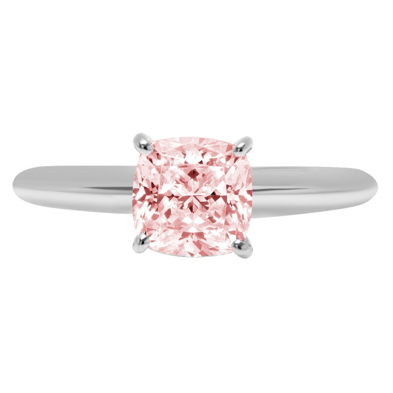 1.50 ct Cushion Cut Pink Simulated Diamond Classic Wedding Engagement Bridal Promise Designer Ring Solid 14k White Gold