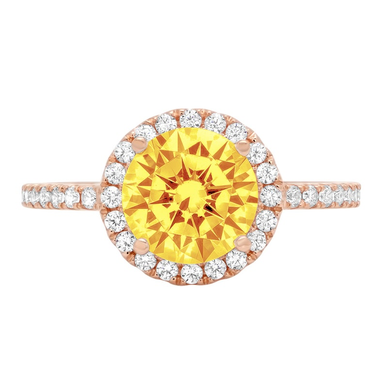 1.85 ct Round Cut halo Yellow Orange Natural Citrine VVS1 Promise Bridal Wedding Engagement Classic Designer Ring Solid 14k Rose Gold