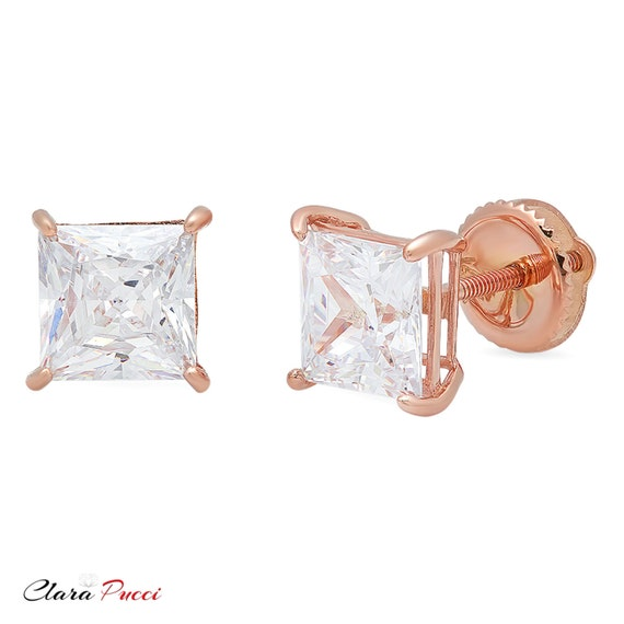 1.0 ct Princess Cut Solitaire Stud Earrings Solid 14k Real Rose Gold Screw Back