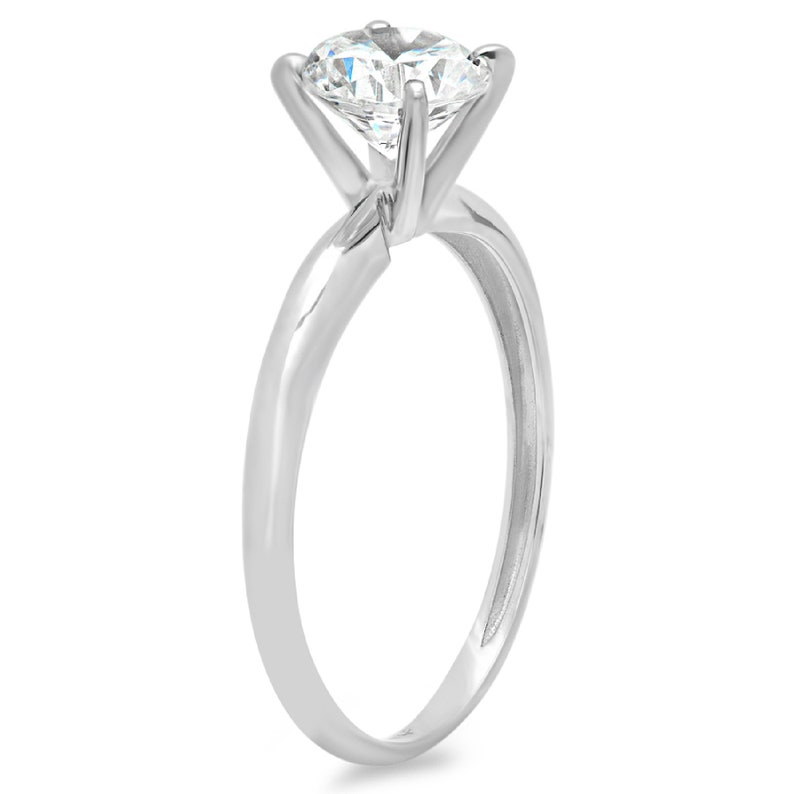 1.0 ct Round Cut Clear White Sapphire VVS1 Classic Wedding Engagement Bridal Promise Designer Ring Solid 14k white gold
