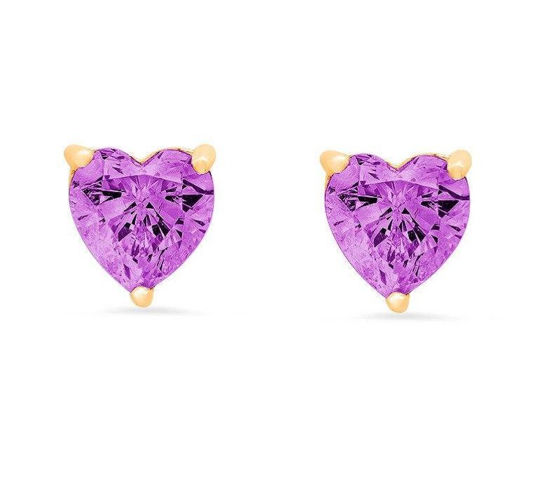 1 ct Brilliant Heart Cut Studs Designer Genuine Flawless Simulated Alexandrite 14K 18K Yellow Gold Earrings Push back