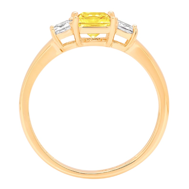 0.95 Princess 3 stone Canary Yellow Simulated Diamond Promise Bridal Wedding Engagement Classic Designer  Ring Solid 14k Yellow Gold