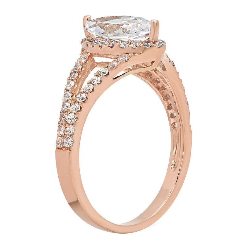 1.2 ct Marquise split shank Clear White Sapphire VVS1 Classic Promise Wedding Engagement Classic Designer  Ring Solid 14k Rose Gold