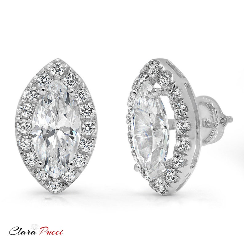White Gold Wedding Studs Gold Wedding Studs White Gold Studs 3.64ct Marquise Cut Brilliant Solitaire Halo Stud Earrings Solid 14k White
