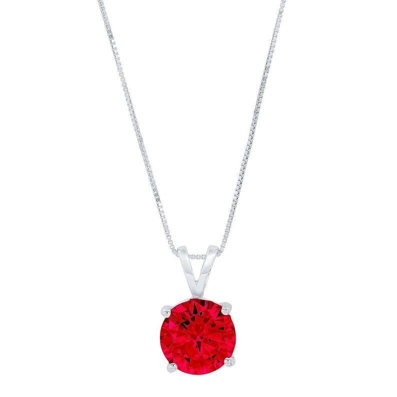 0.5 ct Brilliant Round Cut Solitaire Designer Genuine Flawless Simulated Ruby 14K 18K White Gold Pendant with 18 Chain