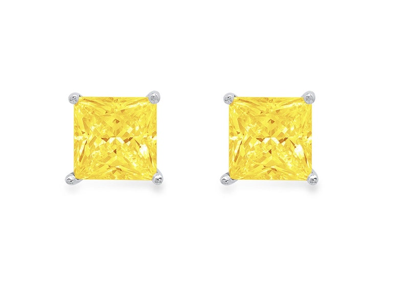 3 ct Brilliant Princess Cut Solitaire Studs Designer Genuine Flawless VVS1 Yellow Simulated Diamond 14K 18K White Gold Earrings Push Back