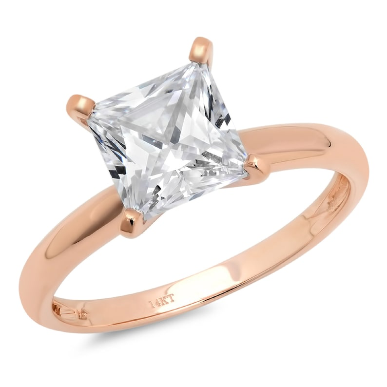 2.0 ct Princess Cut Clear White Sapphire VVS1 Classic Wedding Engagement Bridal Promise Designer Ring Solid 14k Rose Gold