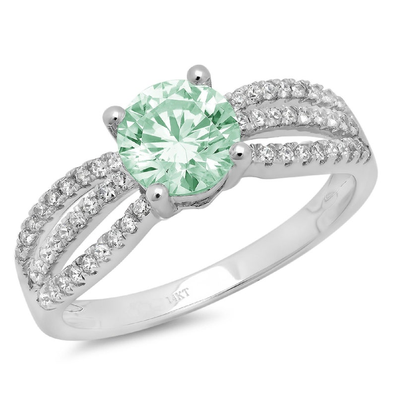 1.25 ct Brilliant Round Cut Designer Genuine Flawless Green Simulated Diamond 14K 18K  White Gold Solitaire with Accents Ring