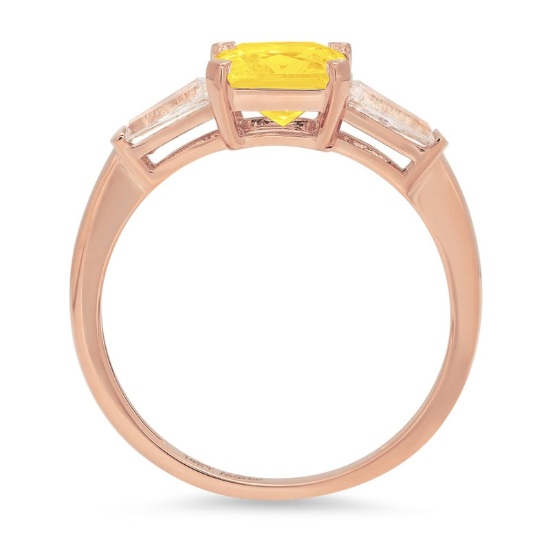 1.62 ct Emerald 3 stone Canary Yellow Simulated Diamond Promise Bridal Wedding Engagement Classic Designer  Ring Solid 14k Rose Gold