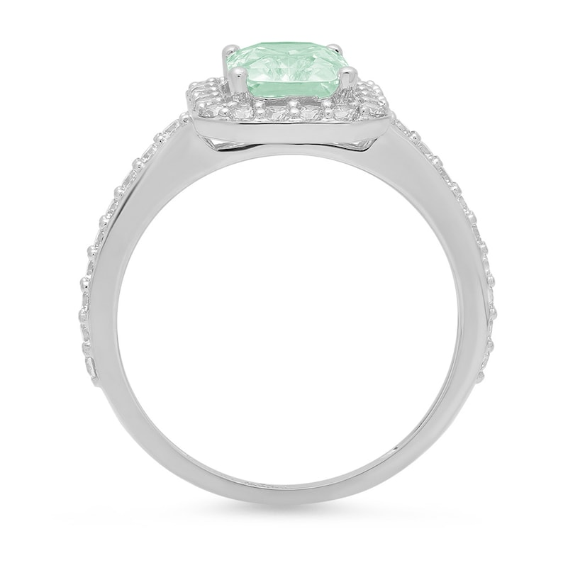 2.07 ct Emerald Halo Mint Light Sea Turquoise Green Classic Promise Bridal Wedding Engagement Classic Designer  Ring Solid 14k White Gold