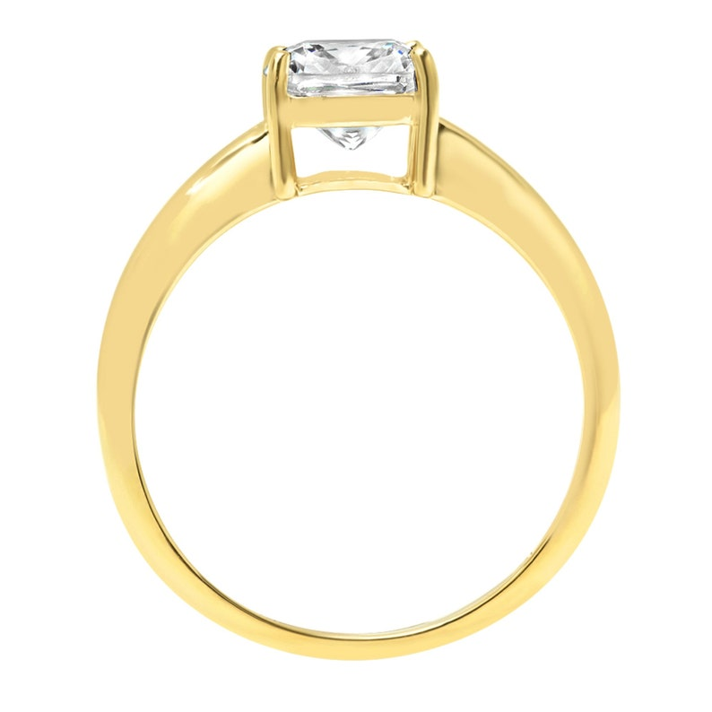 2.5 ct Cushion Cut Clear White Sapphire VVS1 Classic Wedding Engagement Bridal Promise Designer Ring Solid 14k Yellow Gold