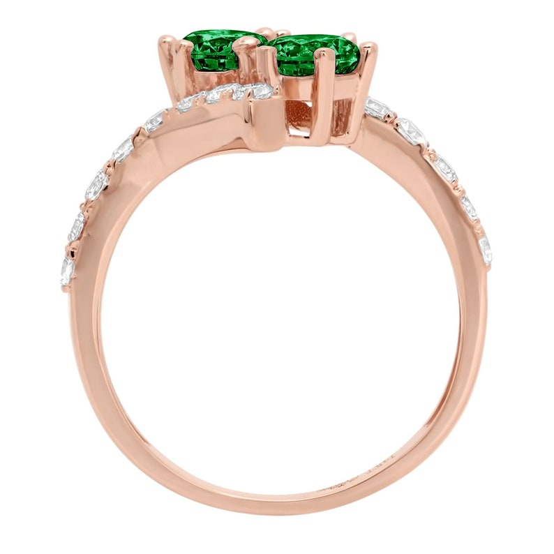 1.98 ct Brilliant Round Cut Designer Genuine Flawless VVS1 Simulated Emerald 14K 18K Rose Gold Solitaire with Accents Ring