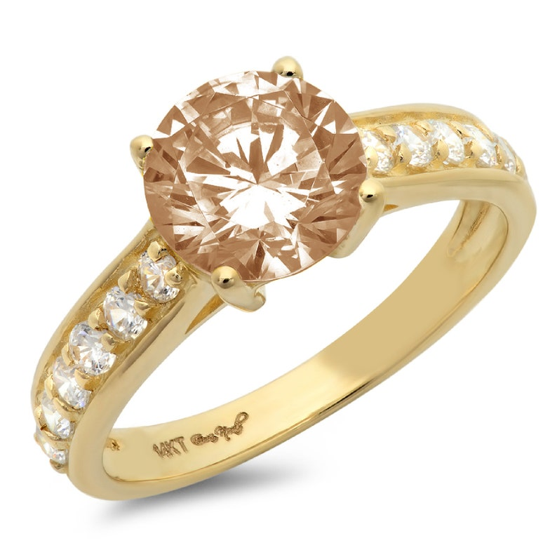 2.25 ct RD Brown Champagne Simulated Diamond Classic Promise Bridal Wedding Engagement Classic Designer  Designer Ring Solid 14k Yellow Gold