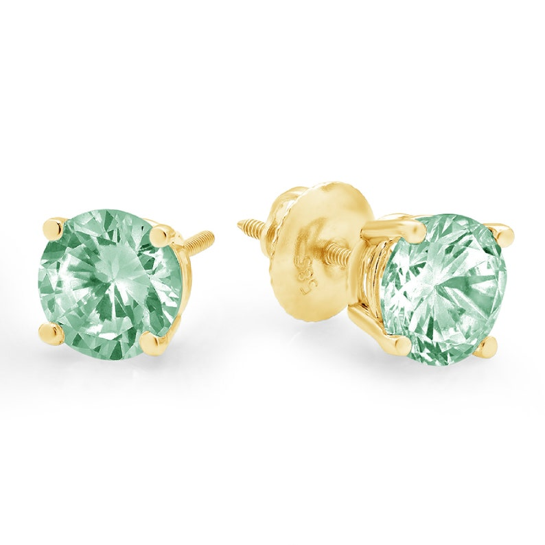 1.50ct Round Brilliant Cut Solitaire Mint Light Sea Turquoise Green Stone Stud Earrings 14k Yellow Gold Anniversary Birthday Bridal Gift