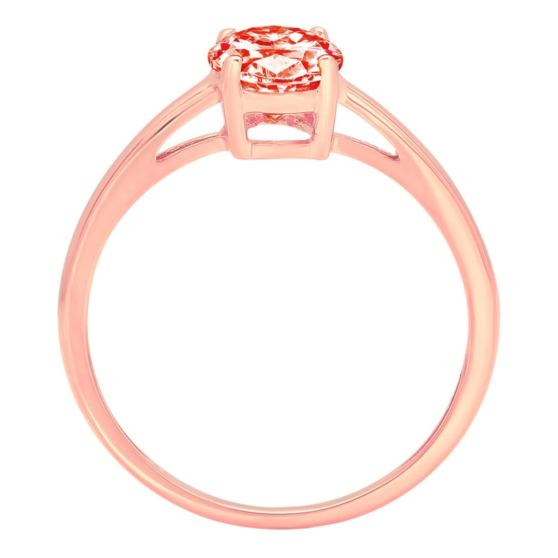 1 ct Oval CutFiery Red Simulated Diamond Classic Wedding Engagement Designer Bridal Promise Designer Ring Solid 14k Rose Gold