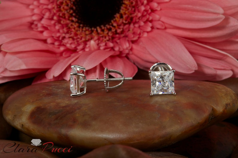 Dainty Earrings Earring Dainty Earrings Dainty 2.0 ct Princess Cut Solitaire Studs 14k White Gold Screw Back Dainty Earring Gold Studs