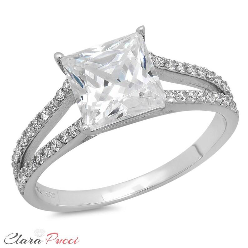 Bridal Pave Ring Pave Wedding Ring 1.62ct Princess Cut Pave Simulated Engagement Bridal Halo Rings Band 14k White Gold Wedding Ring Pave