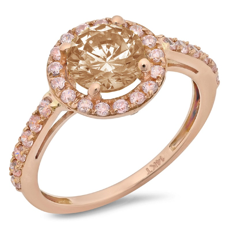 2.40 ct Round Cut Halo Brown Champagne Simulated Diamond Promise Bridal Wedding Engagement Classic Designer  Ring Solid 14k Rose Gold