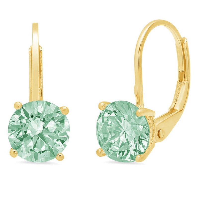 1.0 ct Round Brilliant Cut Mint Light Sea Turquoise Green Stone Drop Dangle Earrings Solid 14k Yellow Gold Anniversary Birthday Bridal Gift