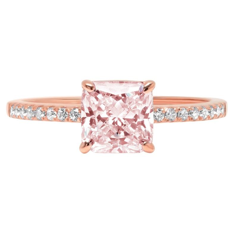 1.66ct Asscher Pink Simulated Diamond Promise Bridal Wedding Engagement Classic Designer  Designer Ring Solid 14k Rose Gold