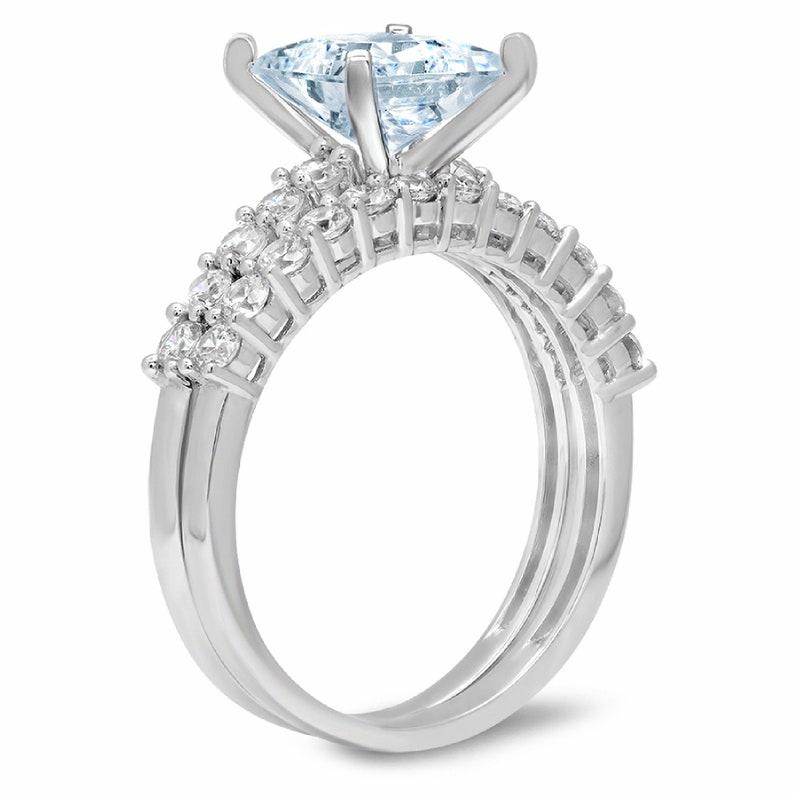 2.66ct Princess Round Cut Pave Aquamarine Blue Simulated Diamond Designer Promise Engagement Wedding Bridal Ring Band set 14k White Gold