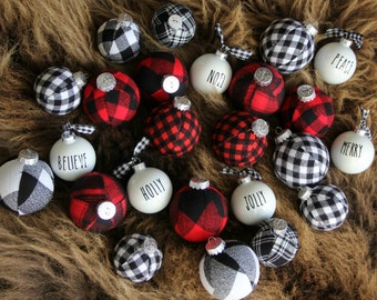 buffalo plaid christmas ornaments modern christmas decor cabin holiday tree decoration christmas flannel ornament modern farmhouse - Plaid Christmas Tree Decorations