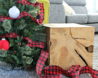 buffalo plaid christmas ribbon wire lined modern christmas decor cabin holiday tree decoration christmas trim classic holiday red
