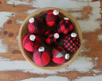 buffalo plaid christmas ornaments set modern christmas decor cabin holiday tree decoration christmas ball classic holiday red grey