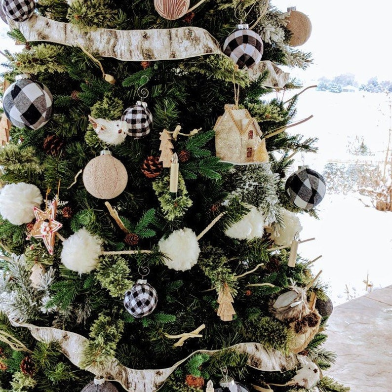 Cabin Holiday Tree Decor Modern Christmas Decor Flannel Christmas Ball Farmhouse Green and Black Buffalo Plaid Christmas Ornaments