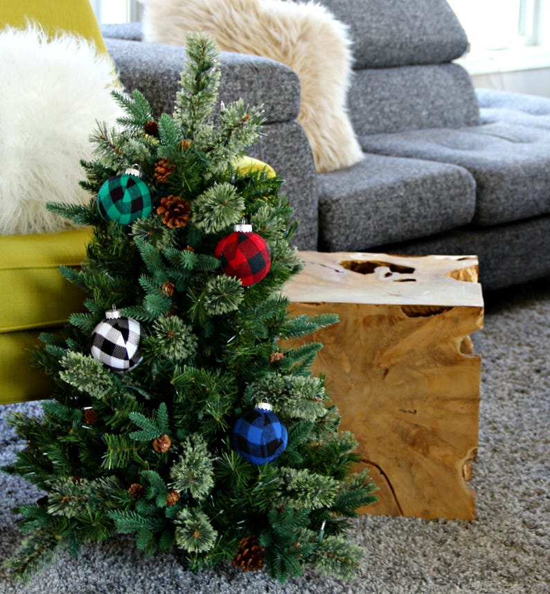 Buffalo Plaid Christmas Ornaments Modern Christmas Decor Etsy