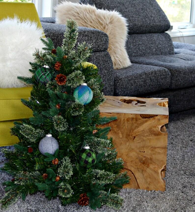 Green Plaid Christmas Ornaments Set Modern Christmas Etsy