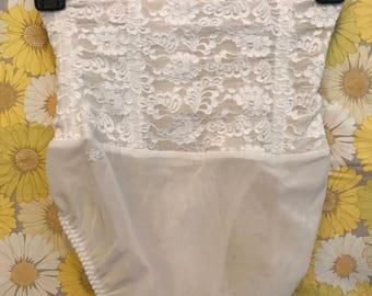 Vintage White Lace Panty Girdle