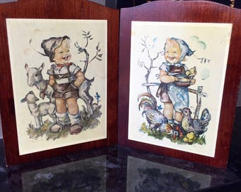 Vintage HUMMEL WALL HANGINGS, Boy with Goats Girl with Chickens, Child's Room Decor, Retro Wall Art, Wooden Wall Hangings, Nursery Decor