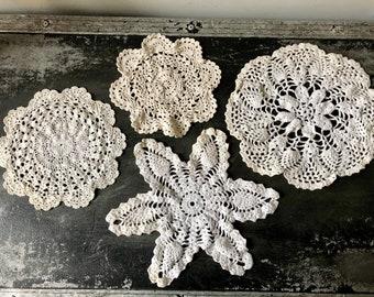 Ecru Taupe Tan 60 Vintage Crochet Doilies Beige Color Crochet Doilies 2.25-2.5 inch sizes Vintage Crochet Lace Doily Rosettes approx