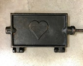 Vintage CAST IRON WAFFLE Maker, Early 1900s, Antique Iron Waffle Maker with Cast Iron Heart, Open Fire Hand Forged w Long Handles